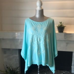 Johnny Was Blue Embroidered Kaftan Top S EUC